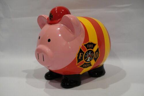 "RARE FAB Starpoint Ceramic Fire Department Piggy Bank  8.25""x 6.5""x 6.25"""