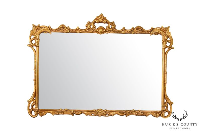 French Louis XV Style Gold Gilt Frame Beveled Mirror by Majestic