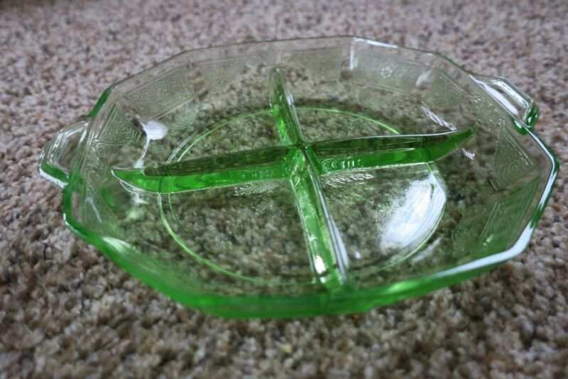 Hocking Glass Company Princess Pattern Green Relish Dish