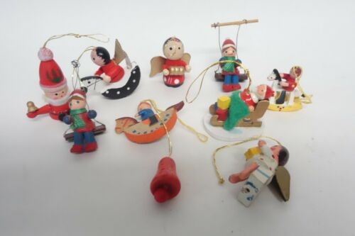 VINTAGE WOOD CHRISTMAS TREE MINIATURE ORNAMENTS (LOT C)