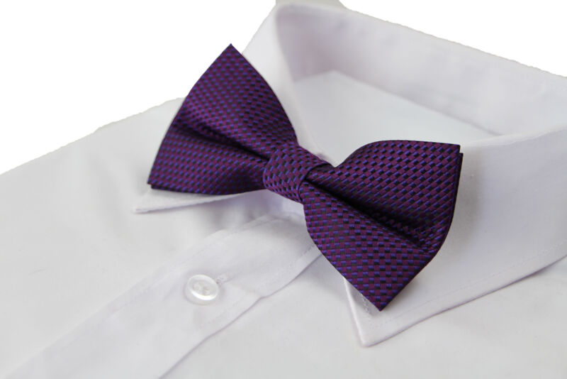 Mens Quality Dark Purple Checkered Patterned Bow Tie
