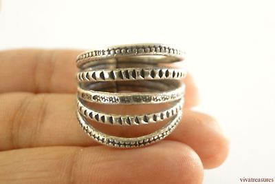 - Open Stacked Karen Thai Hill Tribe No Stone Sterling Silver Ring Size 7 8
