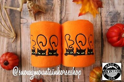 Polo Wraps For Horses Polos Set of 2 Halloween Boo Cats - Horse Costume For 2