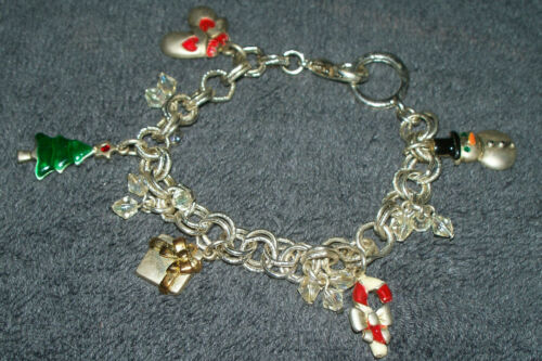 Vintage Seasonal Christmas themed five charm bracelet silvertone see details