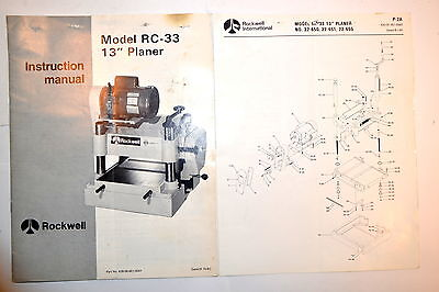 Rockwell Instruction Manual Model Rc-33 13 Planer Parts List Rr776