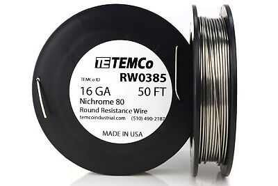 Temco Nichrome 80 Series Wire 16 Gauge 50 Ft Resistance Awg Ga