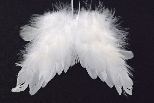 White Feather Angel Wings Hanging Christmas Tree Decoration 18cm X ...