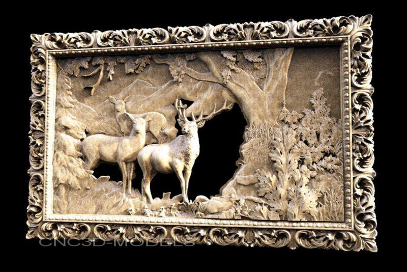 3D STL Models for CNC Router Carving Artcam Aspire Deer Hart Buck 1178