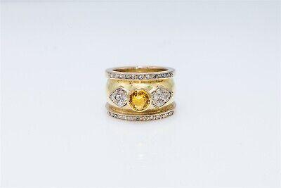 Designer Yellow Sapphire - Designer Hammered $7000 3ct Yellow Sapphire Diamond 14k Gold Band Ring 17g