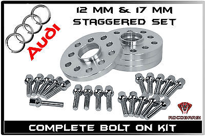 4 Pc Audi ( 12 MM & 17 mm Thick ) Hub Centric Wheel Spacers  W/ 20 EXT Lug Bolts