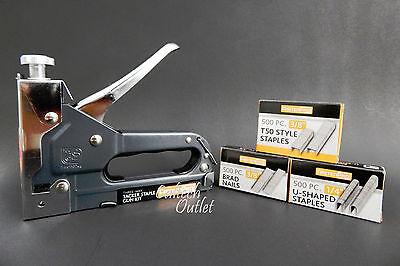 Tacker Kit - Powerful 3 Way Tacker Staple Gun Stapler Kit w/1500 Staples & Brad Nails