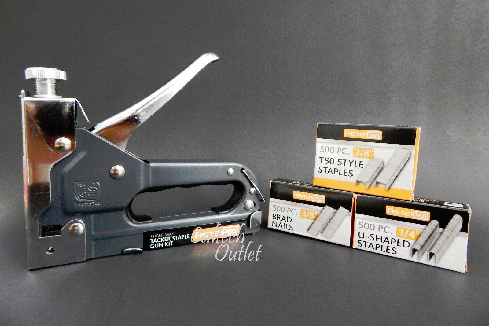 Powerful 3 Way Tacker Staple Gun Stapler Kit w/1500 Staples