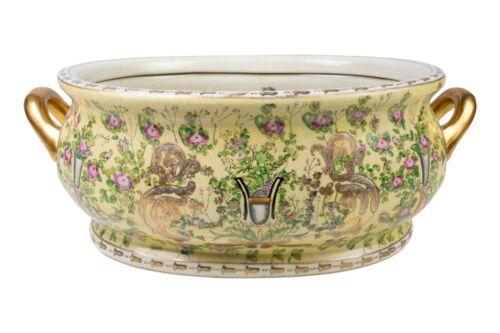 "Oriental Yellow Chinoiserie Floral Porcelain Handled Footbath 22"" Length"