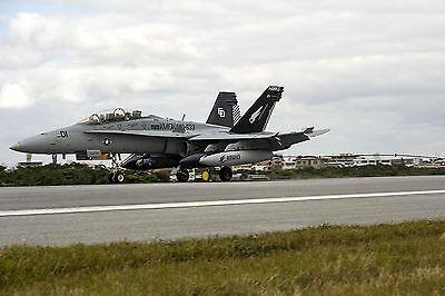 8x12 Photo An FA-18D Hornet lands at Marine Corps Air Station Futenma, Japan