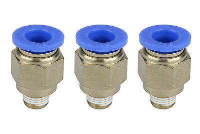3x Temco Pneumatic Air Quick Push To Connect Fitting 18 Npt To 38 Hose Od