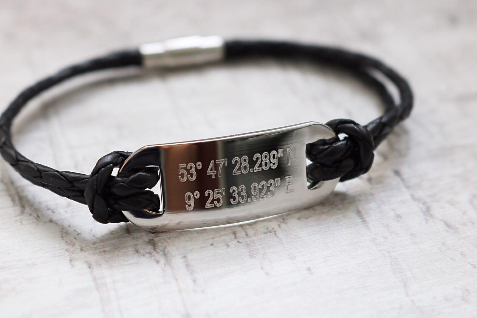 9a56d187e3fc Coordinates Bracelet - Gift for Him - Men apos  Leather Bracelet