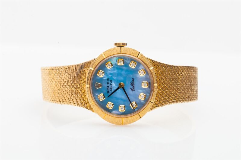 $20,000 Blue Mop Diamond Rolex Cellini 18k Yellow Gold Midsize Ladies Watch Box