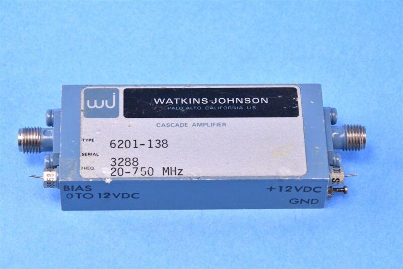 Watkins Johnson RF Microwave Cascade Amplifier 20-750 MHz 6201-138