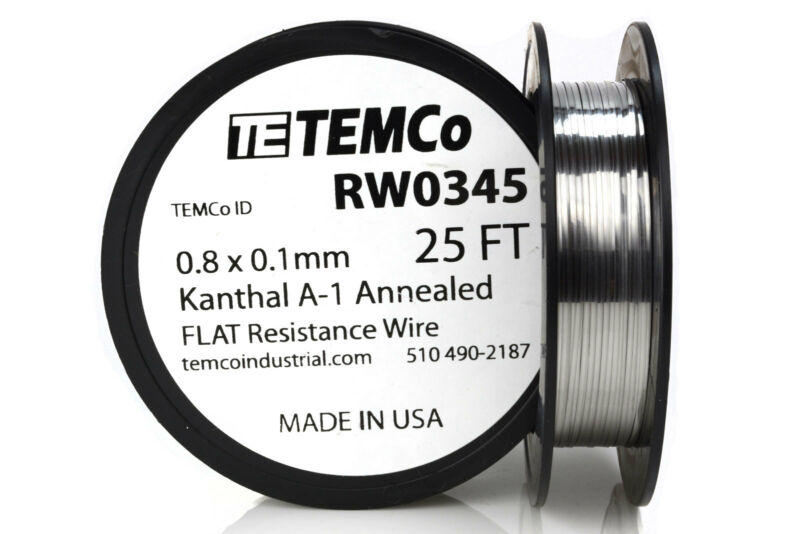 TEMCo Flat Ribbon Kanthal A1 Wire 0.8mm x 0.1mm 25 Ft Resistance A-1
