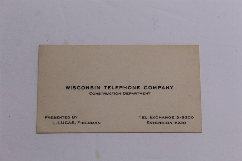 Vintage Wisconsin Telephone Company Business Card Lucas Fieldman Construction WI