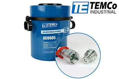 Temco Hollow Hydraulic Cylinder Ram 100 Ton 3 In Stroke 5 Year Warranty