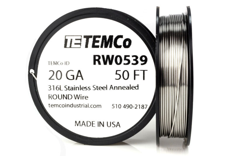 TEMCo Stainless Steel Wire SS 316L - 20 Gauge 50 FT Non-Resistance AWG ga