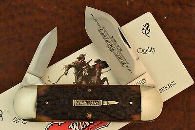 WINCHESTER USA BURNT ORANGE BONE ELEPHANT TOENAIL SUNFISH KNIFE 1995 NICE (7570)