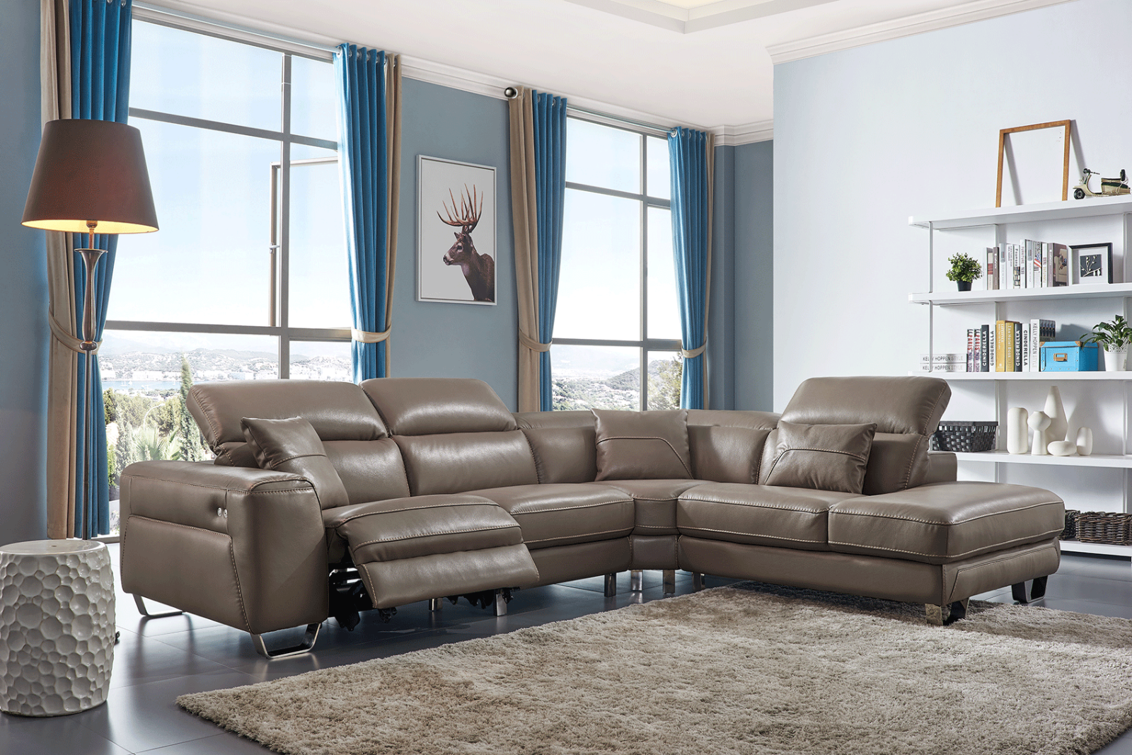 ESF 468 Brown Contemporary Genuine Leather Electric Recliner