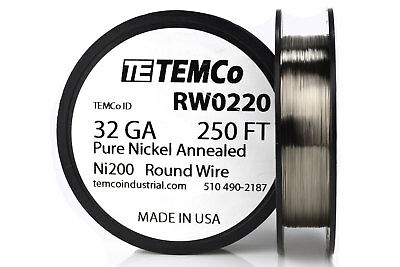Temco Pure Nickel Wire 32 Gauge 250 Ft Non Resistance Awg Ni200 Nickel 200ga