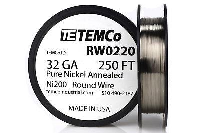 Temco Pure Nickel Wire 32 Gauge 250 Ft Non Resistance Awg Ni200 Nickel 200ga