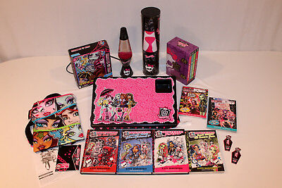 Monster High 10 Book Lot Lava Lamp Bag Lap Desk Ghoulfriends Scary Cute - Monster High Book Bags