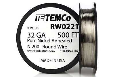 Temco Pure Nickel Wire 32 Gauge 500 Ft Non Resistance Awg Ni200 Nickel 200ga
