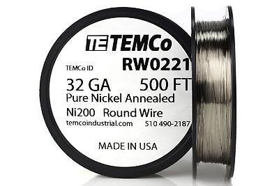 Temco Pure Nickel Wire 32 Gauge 500 Ft Non Resistance Awg Ni200 Nickel 200ga