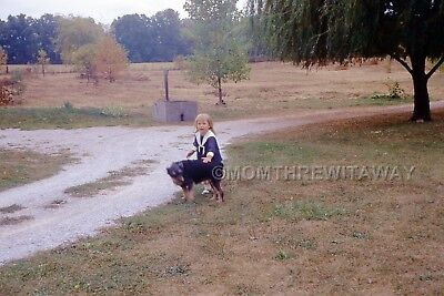 1967 COLOR SLIDE 1466 Ohio Sweet Little Blonde Girl Playing with Dog Gravel Road