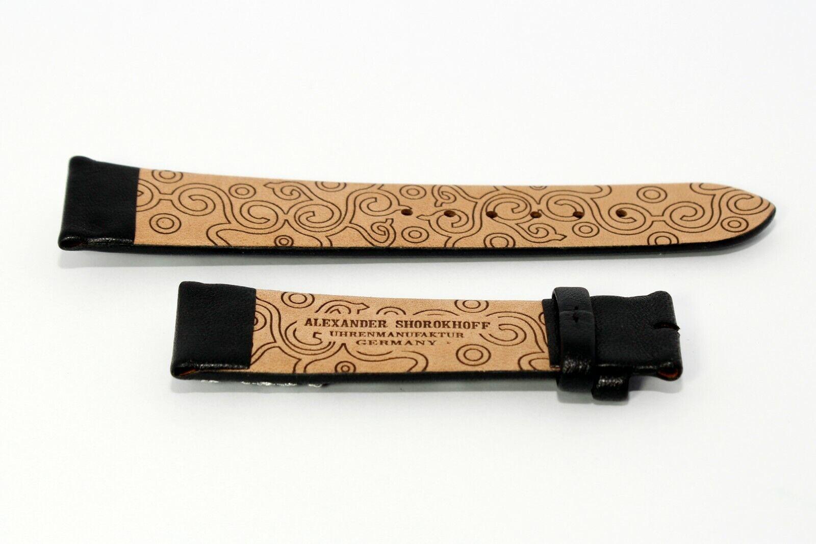 Damen Uhrenband Lederarmband 20 mm Schwarz mit Stickerei Kalbsleder SHOROKHOFF