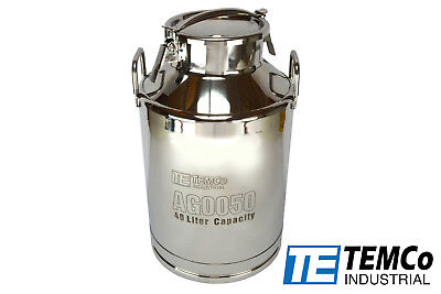 Temco 40 Liter 10.5 Gallon Stainless Steel Milk Can Wine Pail Bucket Tote Jug