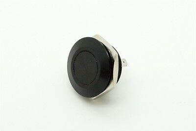 Mitec MSW-16A01 Black 16mm Stainless Steel PushButton Switch Flat Top