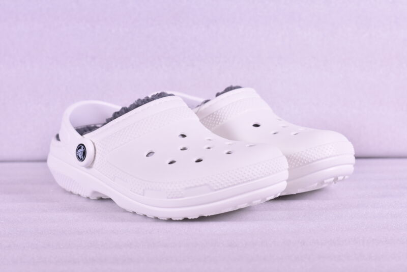 Unisex Crocs Classic Lined Roomy Fit Clogs, White w/ Grey Lining