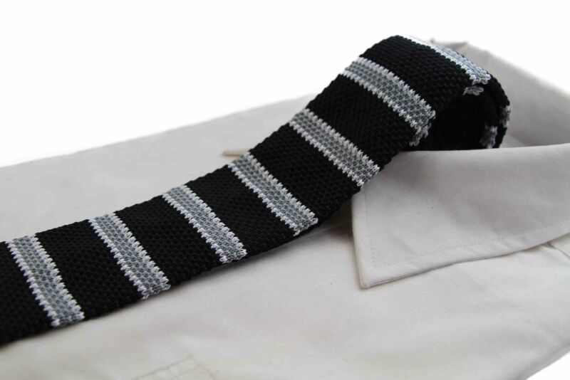Knitted Black, Grey & White Striped Patterned Neck Tie