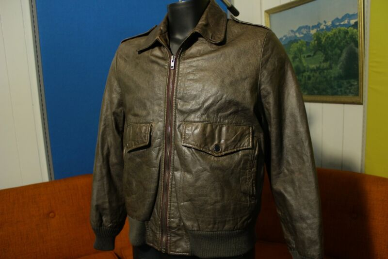 A-2 Clipper Mist Bomber Flight Jacket 70s Leather Londontown Vintage Rare Coat