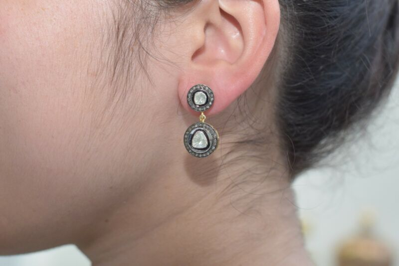 925 Sterling Silver Diamond Pave Handmade Dangle Earrings 14K Gold Gift Jewelry