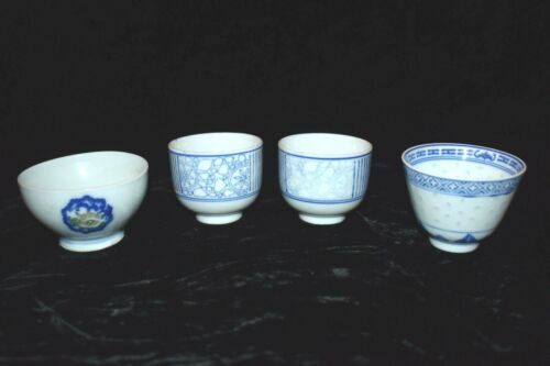 Vintage Chinese Tea Cups Blue White Porcelain Assorted Lot of 4