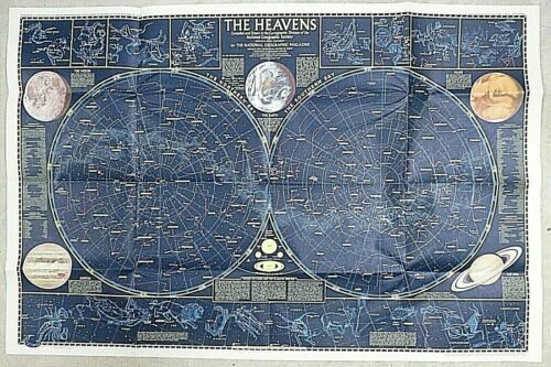 VTG 1970 National Geographic Celestial Map of the Heavens w/ Monthly Star Charts