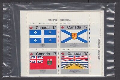 CANADA SEALED PLATE BLOCKS 821-832 PROVINCIAL & TERITORIAL FLAGS