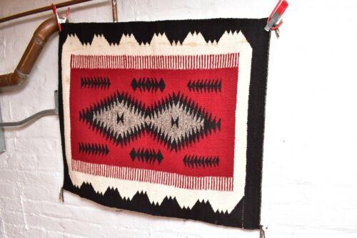 ANTIQUE Navajo Rug native american indian weaving VTG 31x27 Ganado RED Textile
