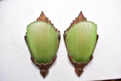 Art Deco Markel Antique Glass Slip Shade Wall Sconce Fixture Vintage Pair set 2