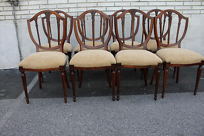 (Unusual Set of 8 Shield Back  Olive Wood Dining Chairs, New Upholstery)