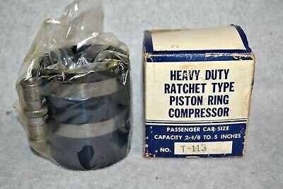 Heavy Duty Ratchet Type Piston Ring Compressor T-113, Passenger Cars 2 1/8 to 5