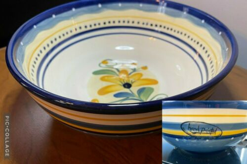 """TABLETOPS GALLERY Hand Crafted & Hand Painted 10"""" BELLA FLORA SERVING BOWL - NEW"""