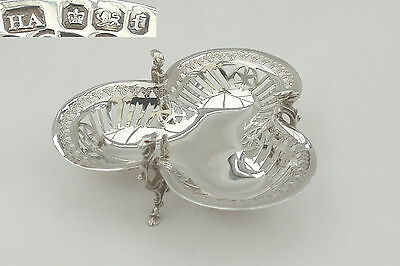 RARE VICTORIAN HM STERLING SILVER PIERCED TRI FOOTED BOWL 1898